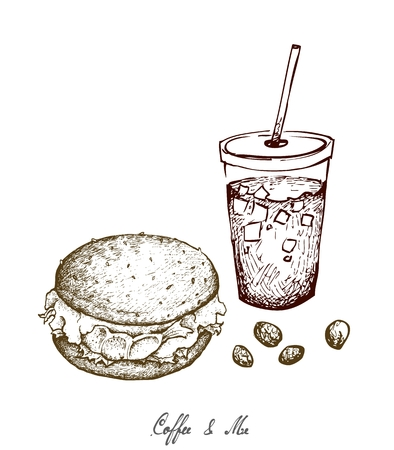 Coffee & Me, Illustration Hand Drawn Sketch of Delicious Hamburgery and Iced Coffee or Iced Tea. Illustration