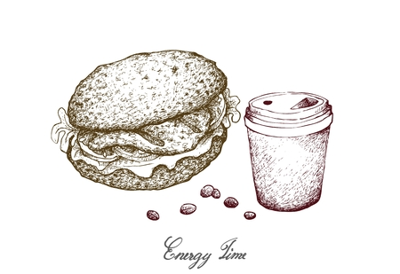 Illustration Hand Drawn Sketch of Takeaway Coffee with Grilled Grouper Sandwich or Layer Hamburger Buns Isolated on White Background. Banque d'images - 119631566