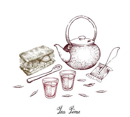 L'heure du thé, illustration croquis dessinés à la main de sachet de thé avec pot et tasse et sandwich. Le thé est une boisson hautement nutritive et rafraîchissante.