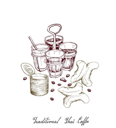 Illustration Hand Drawn Sketch of Ancient Chinese Coffee and Tea with Thai Traditional Snacks Deep Fried Doughstick. A Popular Drink in Asia. Illustration