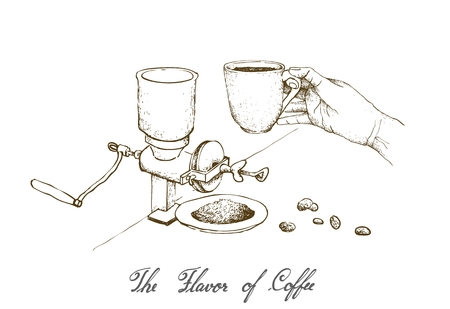 The Flavor of Coffee, Illustration Hand Drawn Sketch of  Hand Holding A Shot of Espresso with Traditional Manual Coffee Grinder or Burr Mill Isolated on White Background. Stock Illustratie