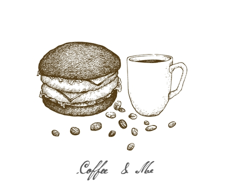 Coffee & Me, Illustration Hand Drawn Sketch of A Cup of Coffee with Charcoal Burger Isolated on White Background.