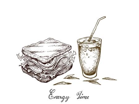 Energy Time, Illustration Hand Drawn Sketch of Delicious Homemade Freshly Healthy Whole Grain Bread Sandwich with Iced Coffee Isolated on White Background. Vector Illustration
