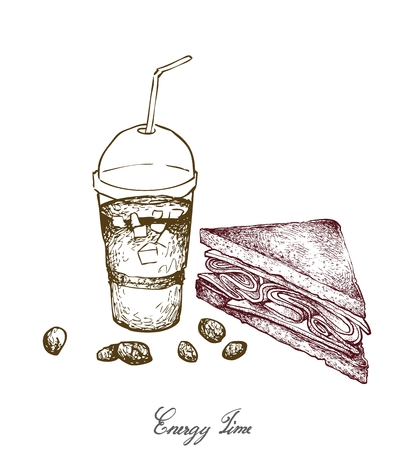 Energy Time, Illustration Hand Drawn Sketch of Delicious Homemade Freshly Healthy Whole Grain Bread Sandwich with Iced Coffee Isolated on White Background.