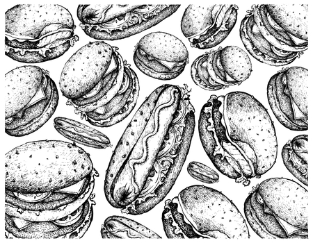 Illustration Wallpaper of Hand Drawn Sketch of Delicious Hamburgers and Hot Dogs Isolated on White Background. Illustration