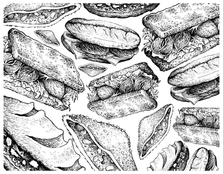 Illustration Hand Drawn Wallpaper of Sketch of Delicious Homemade Freshly Baguette Sandwiches and Club Sandwiches Isolated on White Background.