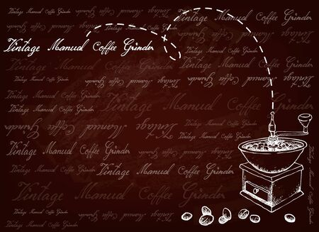 Illustration  of Roasted Coffee Beans with Traditional Manual Coffee Grinder on Brown Background.