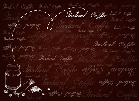 Illustration of Instant Coffee or Coffee Powder on Brown Background.
