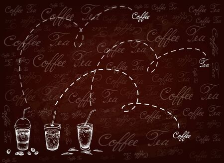 Illustration of Iced Coffee and Iced Tea on Brown Background. 向量圖像