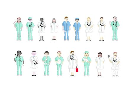 Medical Staff Team Concept, Illustration Set of Different Action Cartoon of Female Doctors and Nurse Isolated on A White Background. Illusztráció