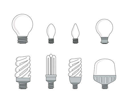 Illustration Set of Assorted Electric Light Lulb, Inspiration Concept and Hot Idea.