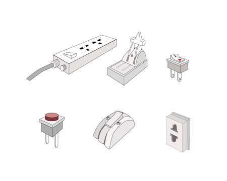 Illustration of Assorted Electric Plugs, Socket, Swicth and Circuit Breaker. An Electric Equipment to be Connected to The Power Supply in Buildings and Other Sites.