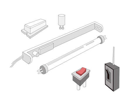 Illustration of The Circuit or Working Principle of Fluorescent Lamp Tube. 向量圖像