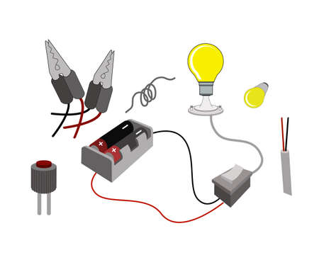 Illustration of The Lighting Circuit or Working Principle of Light Bulbs Connecting with Battery Cells.