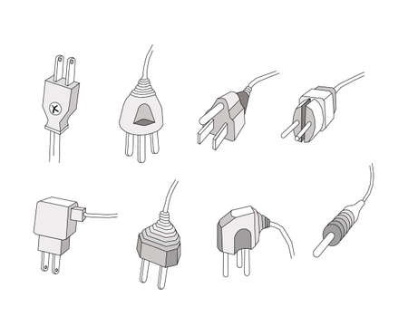 Illustration of Assorted Power Plug Isolated on White Background. An Electric Equipment to be Connected to The Power Supply in Buildings and Other Sites. 向量圖像