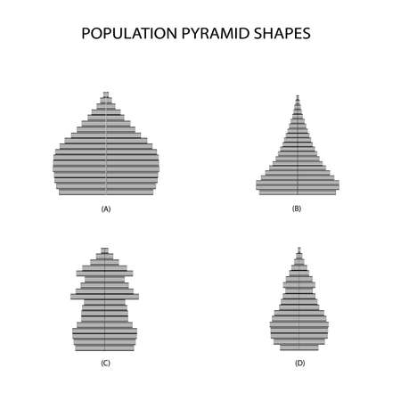 Population and Demography, Illustration of 4 Types of Population Pyramids Chart or Age Structure Graph Isolated on White Background.