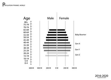 Population and Demography, Population Pyramids Chart or Age Structure Graph with Baby Boomers Generation, Gen X, Gen Y and Gen Z in 2016 to 2020.