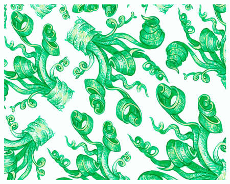 Ecology Concepts, Illustration Background of Fresh Spiral Green Grass for Home and Building Decoration. 矢量图像