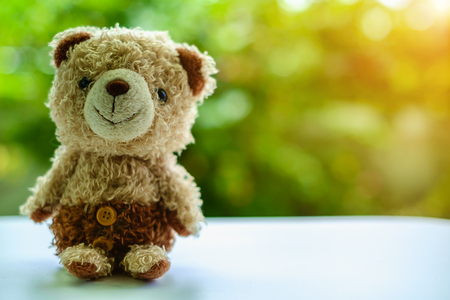 Brown bear doll sitting on blurred green natural background Stock Photo