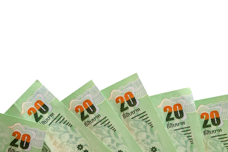 Banknotes, 20 Baht Thai currency money on white background with copy space for business and finance concept Stock Photo
