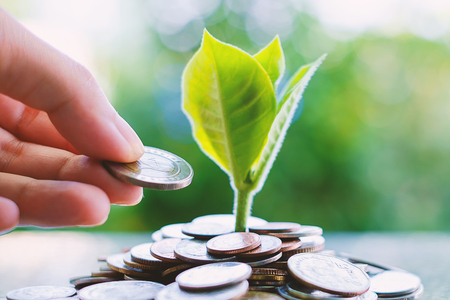 Hand saving a coin to plant growing from piles of money on blurred green natural background for business and financial growth concept Stock Photo