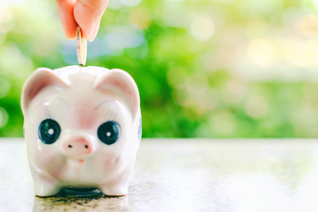 Hand saving a coin into piggy bank on blurred green natural background with copy space for money investment, business and finance concept Stock Photo
