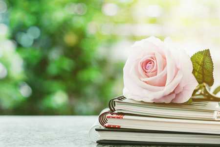 Sweet pink rose flower on spiral notebooks against blurred natural green background Archivio Fotografico