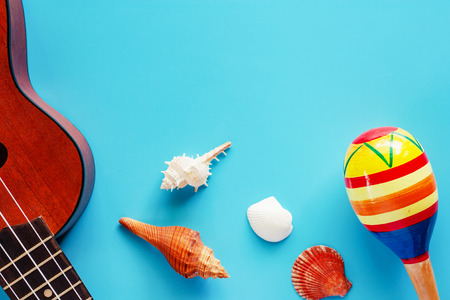 Ukulele, maracas and sea shells on blue background for musical instrument, hobbies, travel and relaxation concept Stock Photo