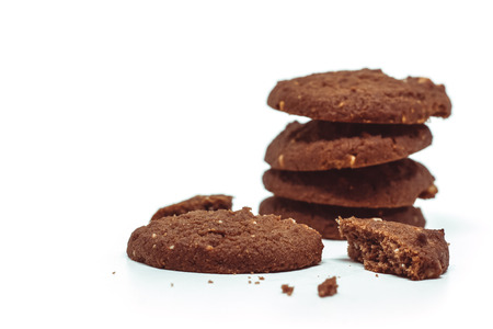 Traditional chocolate cashew butter cookies on white background for food and sweet desserts concept Imagens
