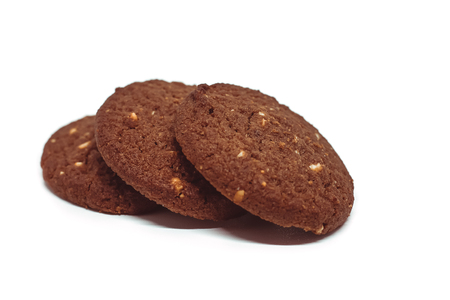 Traditional chocolate cashew butter cookies on white background for food and sweet desserts concept