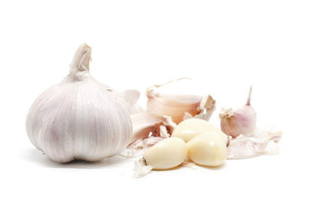 Garlic on white background for food and cooking concept