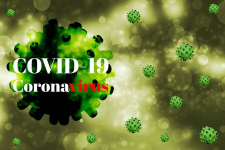 Abstract of Coronavirus disease (COVID-19) causes respiratory illness (like the flu) with symptoms such as a cough, fever, and difficulty breathing for healthcare and medical concept