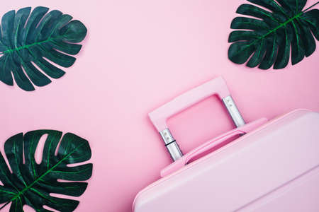 Pinky luggage with palm leaves on pink pastel colored background for traveling concept