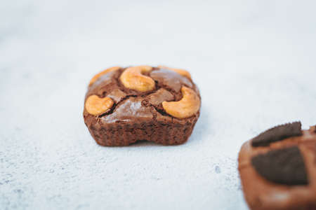 Delicious brownies cake on white background for bakery, food and eating concept Imagens