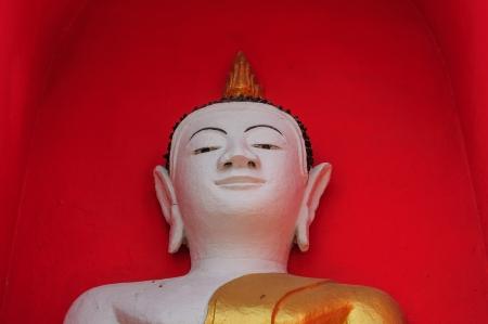 Half buddha statue with red background photo