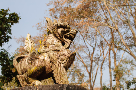 lion figurines: Antique wooden carved lion  from Thailand