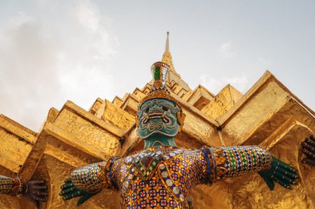 Yak sculpture at Wat Phra Kaew, Bangkok, Thailand photo
