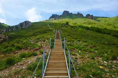 trestle: LingShan mountain wooden trestle Stock Photo