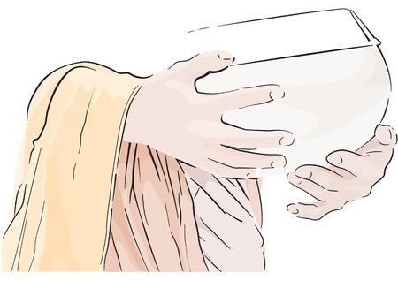 moine: Faire un mérite avec Monk asiatique