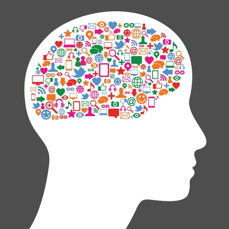 Social media icon in human brain Vector