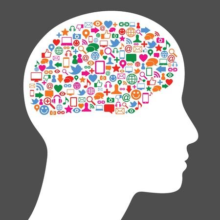business diversity: Social media icon in human brain