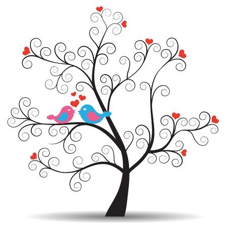 birds in tree: Albero romantico con in-amore uccelli coppia Vettoriali