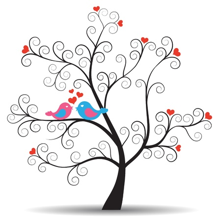 Romantic tree with in-love couple birds Stock Vector - 13769293