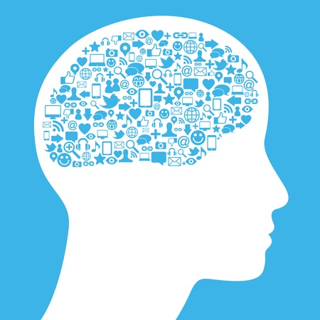 Social media icon in human brain Stock Vector - 13769304
