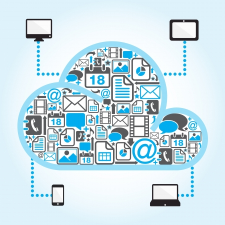 devices: cloud computing with file icon in blue background
