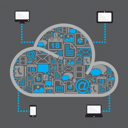 devices: cloud computing with file icon in dark background