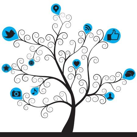 social media icon tree Illustration
