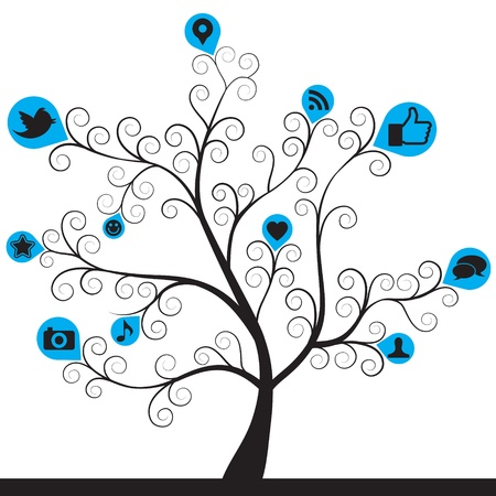social media icon tree Illustration