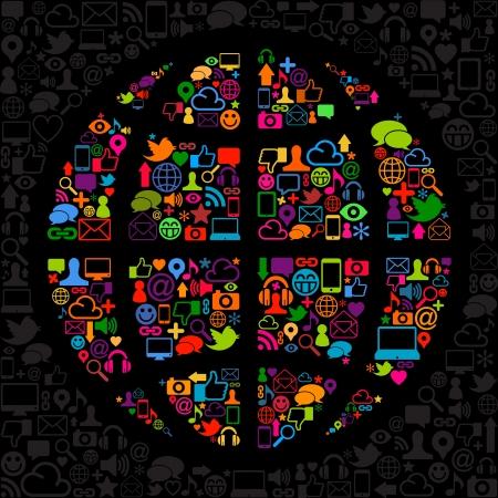 social media icon world Illustration