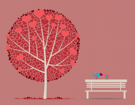 Love autumn tree with couple in-love birds Vector